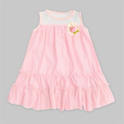 Salmon Pink Tunic Dress With Flower - Freda & Pixie