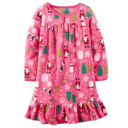 Ruffle Hem Fleece Sleep Shirt - Pink - Carter's