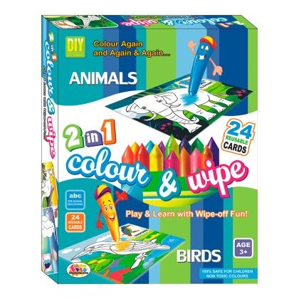Colour & Wipe Animals And Birds - EKTA