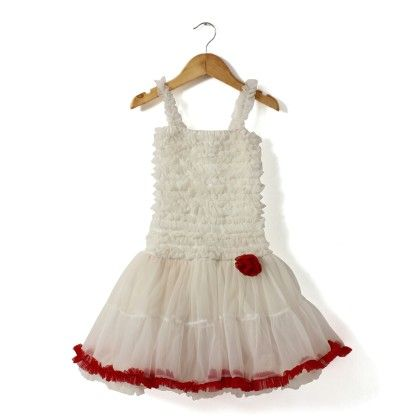 White Frilly Dress With Red Ruffles - The KidShop