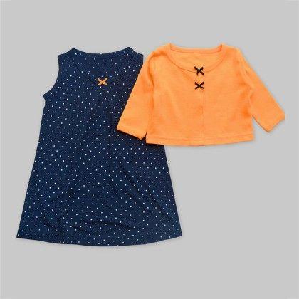 2-piece Navy Polka Dot Dress With Orange Bow Cardigan Set - A.T.U.N