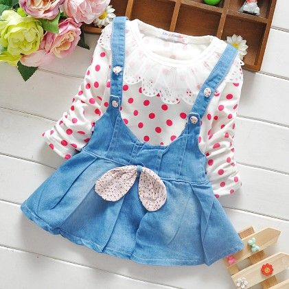 Red Polka Dots Dungaree Dress- Red - Mellow