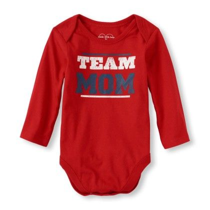 Long Sleeve 'team Mom' Little Talker Bodysuit - Red - The Children's Place