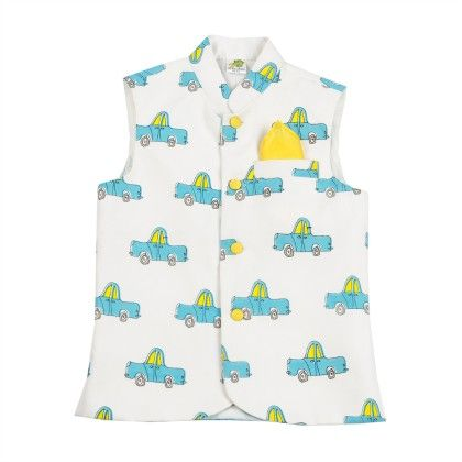White Nehru Jacket With Printed Blue Cars And Yellow Pocket Square - Little Stars