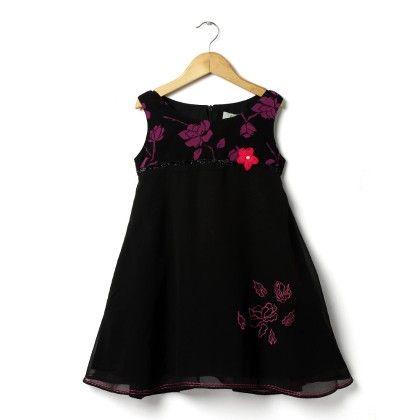 Girls Suzanna Party Dress-black/fuchia - ISM