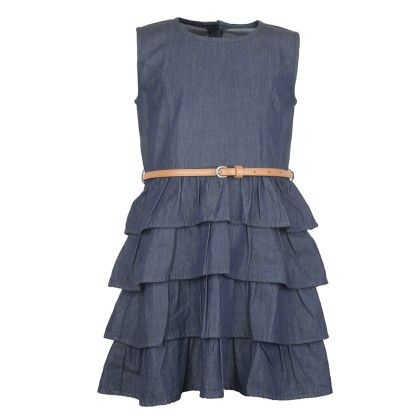 Denim Frilly Dress With Belt - My Lil'Berry