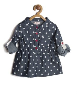 Navy Blue Polka Dotted Roll Up Sleeve Shirt - My Lil'Berry