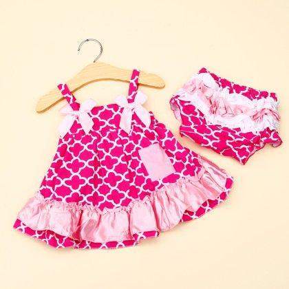 Pink Net Print Cotton Swing Top & Bloomer Set - Little Dove