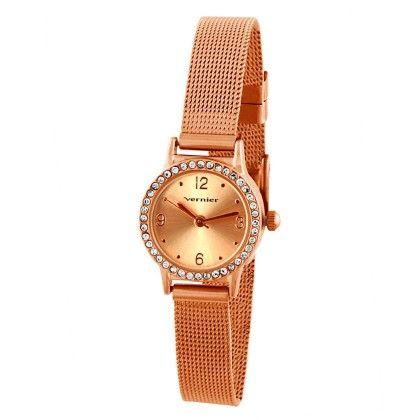 Vernier Women's Mini Case Mesh Band Stone Bezel Watch - Vernier Watches