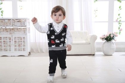 Boys Shirt And Trouser With Printed Jacket- Black - Dapper Dudes
