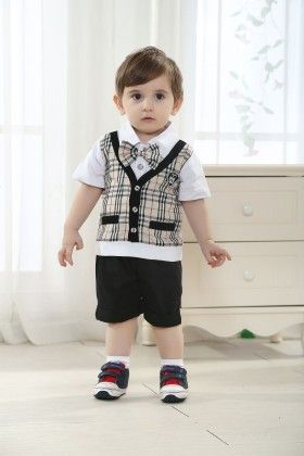 Boys Shirt With Bow And Shorts With  Printed Jacket- Multi - Dapper Dudes