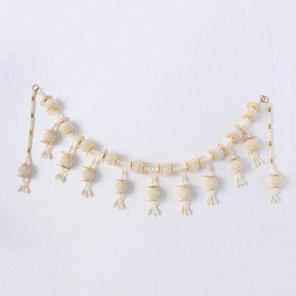 Pearl Ball Latkan Toran With Golden Emblishments & Side Hangings - Sugar Candy