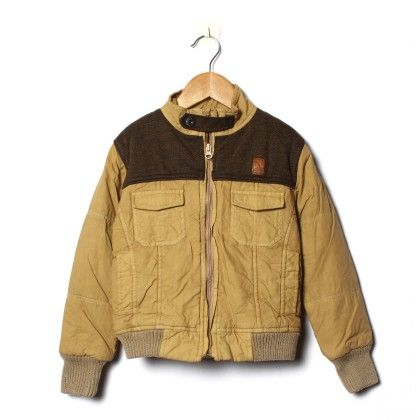 Fawn And Brown Havy Quilted Full Sleeve Jacket - Little Kangaroos