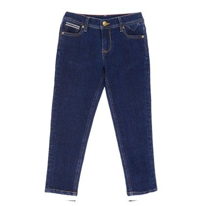 Full Length Stone Wash Denim With Contrast Inserted Details- Blue - Nauti Nati