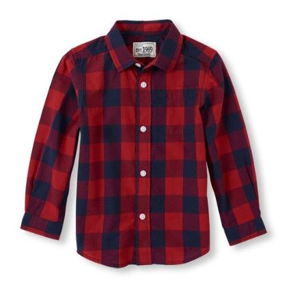 Long Sleeve Check Print Button-down Shirt - Classicred - The Children's Place