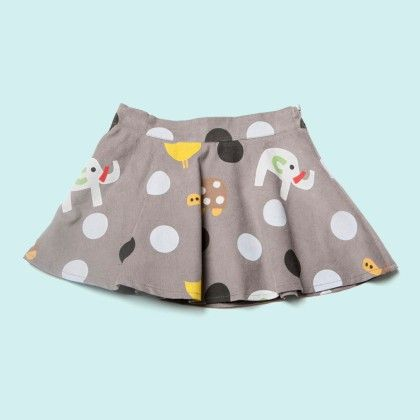 Grey Dotted Plain Skirt - Lourdes
