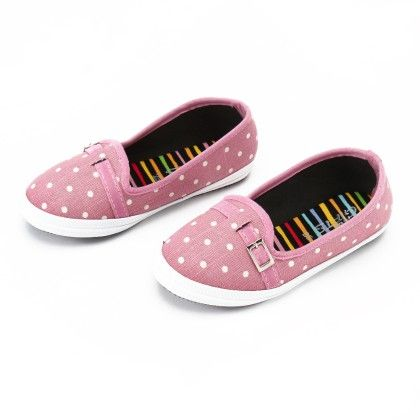 Pink-white Polka Dots With Buckle - Gift Shoes
