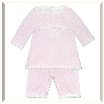 Florantine Pink & White Knitted Top & Pants Baby Set - Chateau De Sable