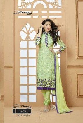 Light Green Floral Dress Material - Fashion Fiesta