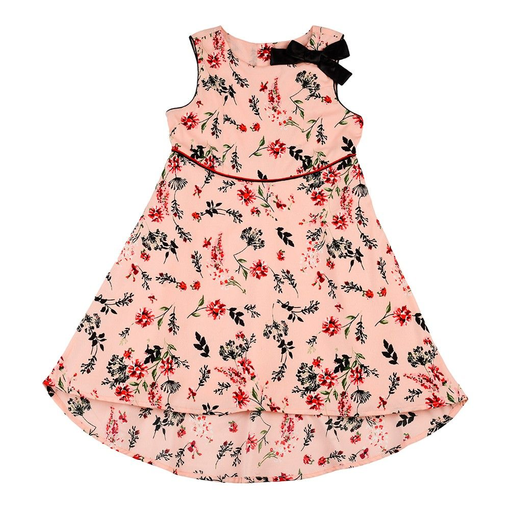 A-line Floral Printed Dress With Mullet Hem,contast Piping And Stylized Bow - Nauti Nati