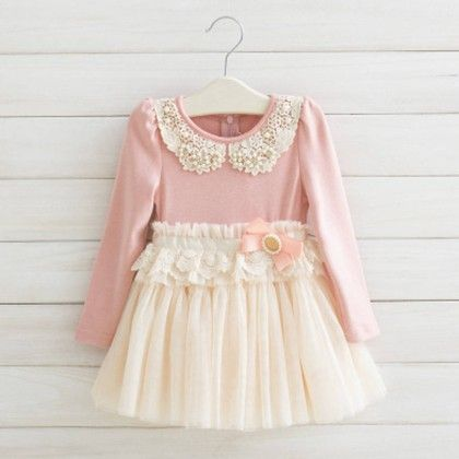 Peach Full Sleeves Winter Party Frock - Lil Mantra