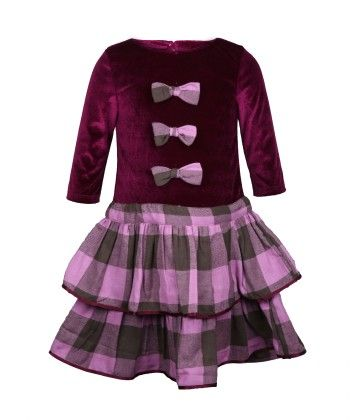 Purple & Pink Check Velvet Party Dress - My Lil'Berry
