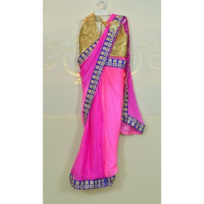 Pink Shaded Chiffon Saree With Blue Border - Little Emporio ~ The Cutique