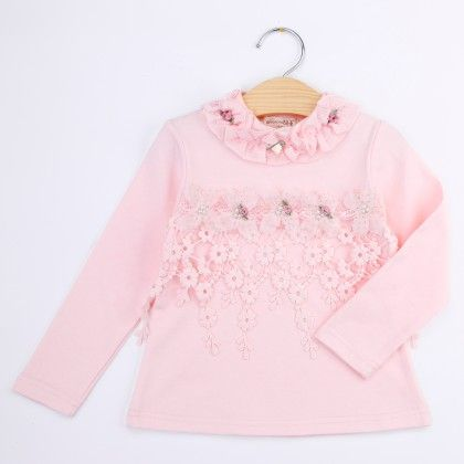 Pink Floral Lace Work Winter Top - Bella