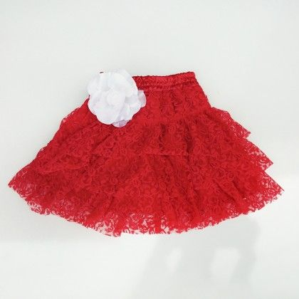 Red Skirt With Lace And Satin - Pihoo