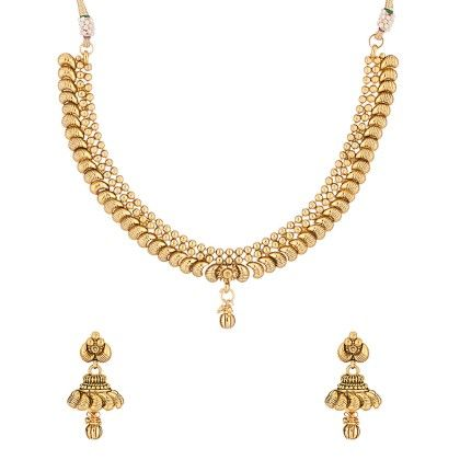 Voylla Gold Toned Necklace Set Studded With Pearl Beads