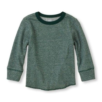 Long Sleeve Crew Neck Knit Top - Fir - The Children's Place