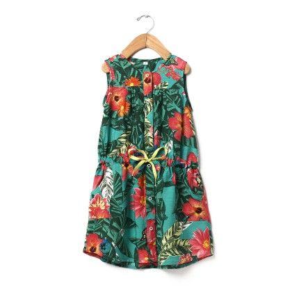 Tropical Print Shirt Dress - Buttercups
