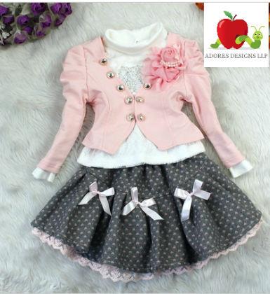 Set Of Heart Print Dress And Coat - Adores