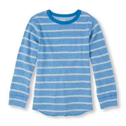 Long Sleeve Striped Crew Neck Knit Top - Happyblue - The Children's Place