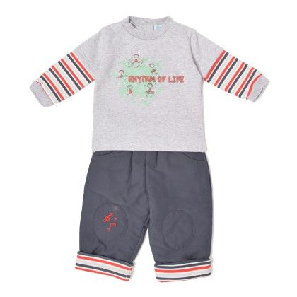 Set Of 2 Top & Pants Padding - Grey & Red Stripe - WWW