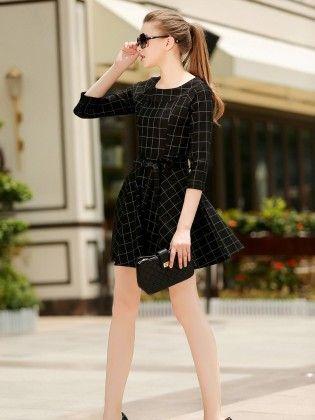 Black -plaid Tie-waist Dress - She In