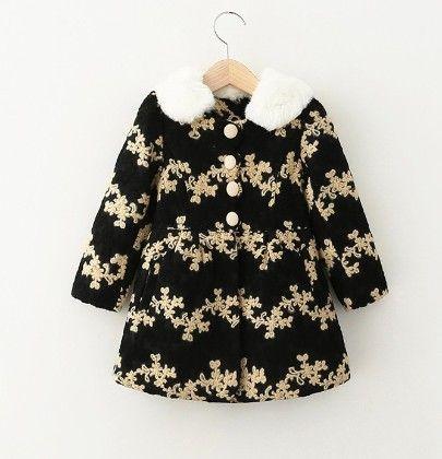 Black Floral Print Winter Jacket Dress - LittleLuscious