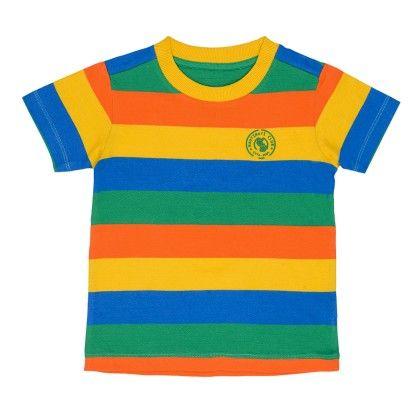 Multicolor Striper Round Neck Tshirt With Contrast Rib And High Density Printed Badge - Nauti Nati