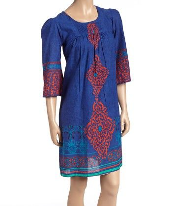 Royal & Red Abstract Pleated Shift Dress - Women - Yo Baby
