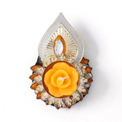 Floating Diyas With Golden Leaf & Yellow Stone Candle Stand - Sugar Candy