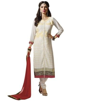 Off White Embroideried Dress Material - Touch Trends Ethnic