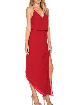 Red Spaghetti Strap Asymmetrical Split Dress - She In