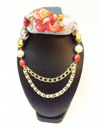 Raw Silk Grey Pearl And Coral Necklace Scarf - Lime