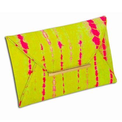 Green Pink Stripe Tiedye Envelope Hand Bag - Arancia