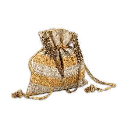 Crisscross Woven Stunner Potli Hand Bag - Arancia