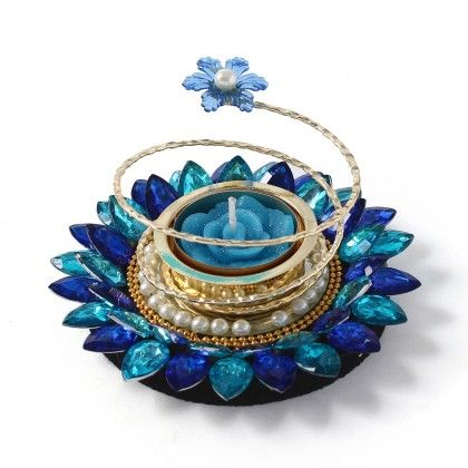 Beautiful Blue Floating Candle Stand - Sugar Candy