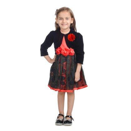 Black Lurex Lace Dress With Shrug - Toy Balloon Kids
