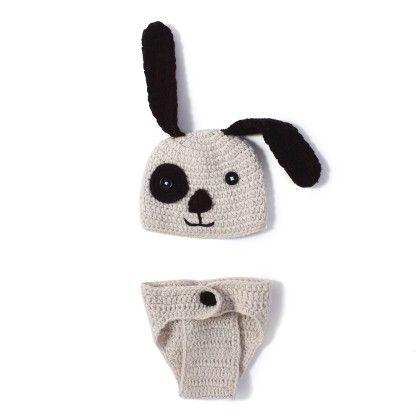 Crochet Knit Puppy Dog Costume Set Photo Prop - NeedyBee