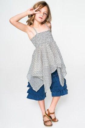 White & Black Handkerchief Tunic & Denim Shorts - Toddler & Girls - Yo Baby