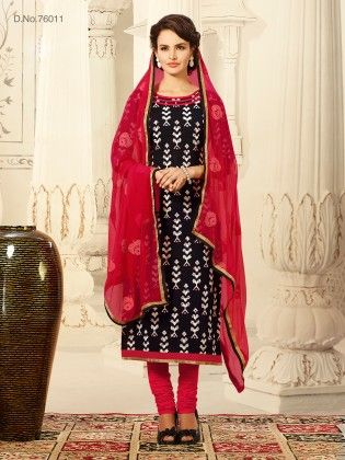Lakhnavi Resham Embroidery Work On Duppatta With Printed Top & Ready Lace - Touch Trends Ethnic